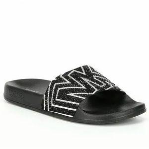 Michael Kors Gilmore Black/White Crystal Slides